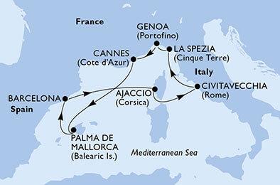 msc crociera MEDITERRANEO E CORSICA
