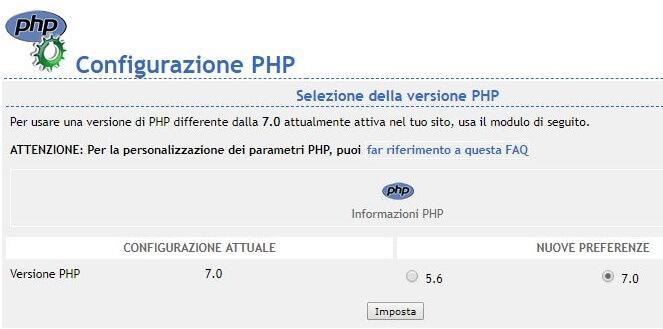 configurazione PHP su Tophost
