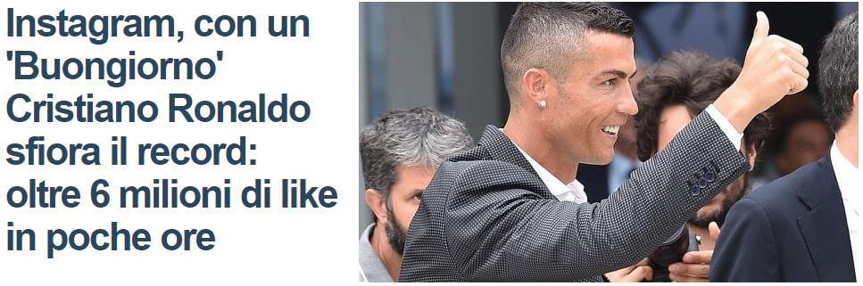 Cristiano Ronaldo su instagram
