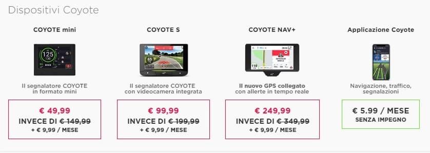 Coyote navigatori per auto