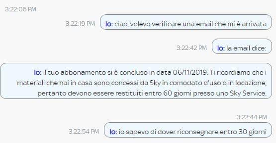 chat sky chiusura contratto