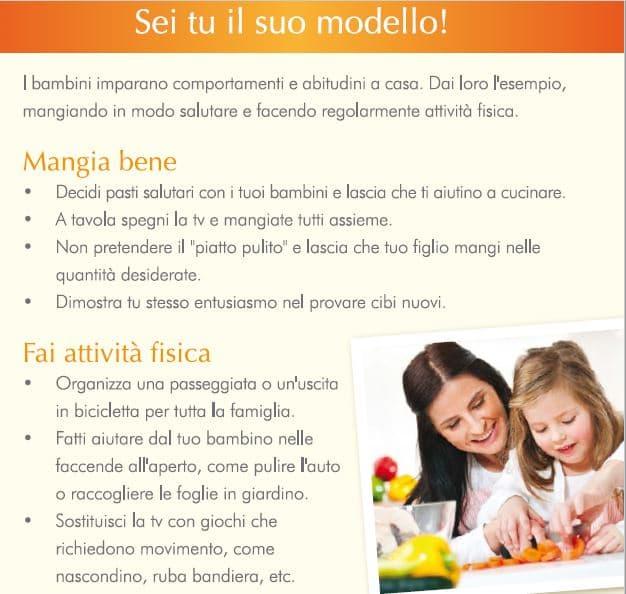 il genitore deve essere di esempio nel cibo sano