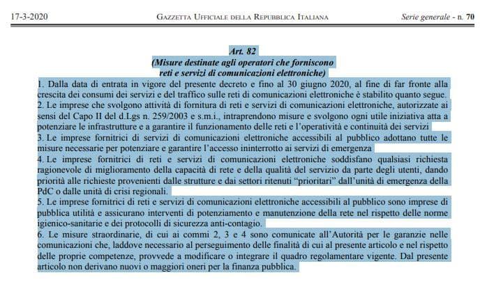 Decreto Cura Italia art. 82