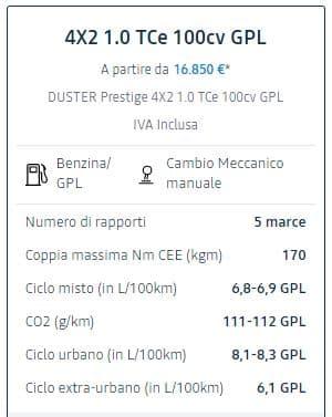 Nuova motorizzazione GPL per il Dacia Duster
